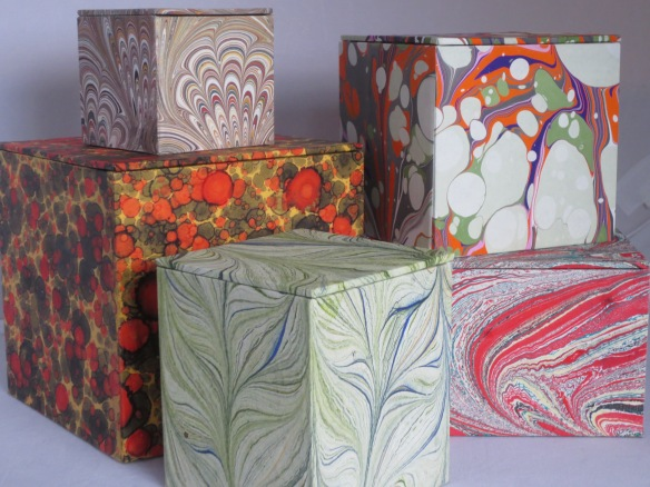 All boxes feature my hand-marbled paper.
